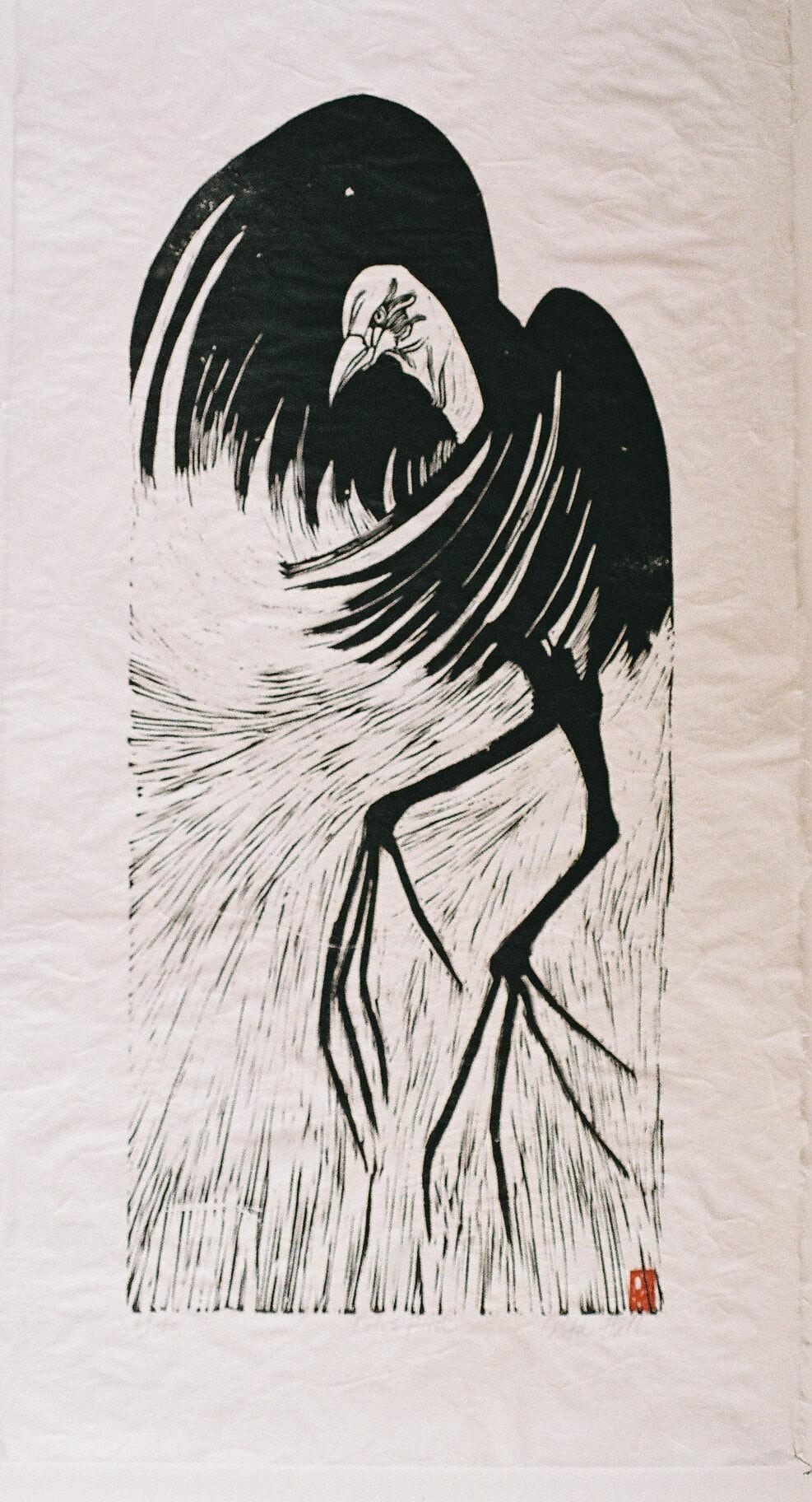 Lotus Bird 1989 Lino Cut 100 x 50cm