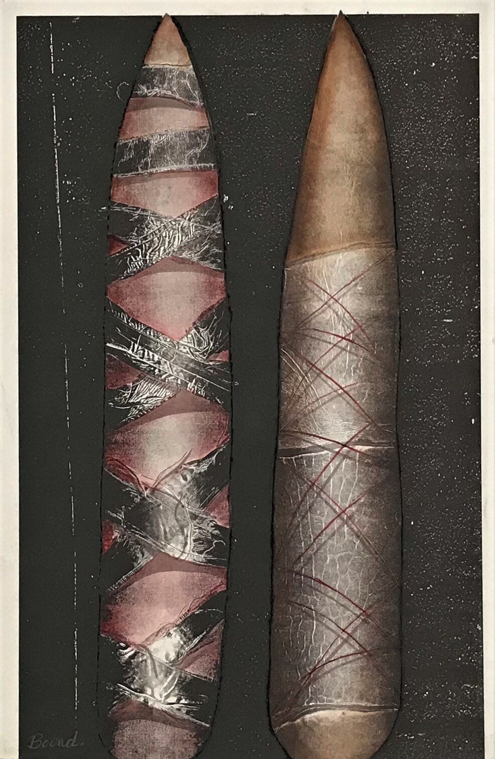 Bound 1991 mixed media (relief etching, collograph, watercolour) 76 x 59cm