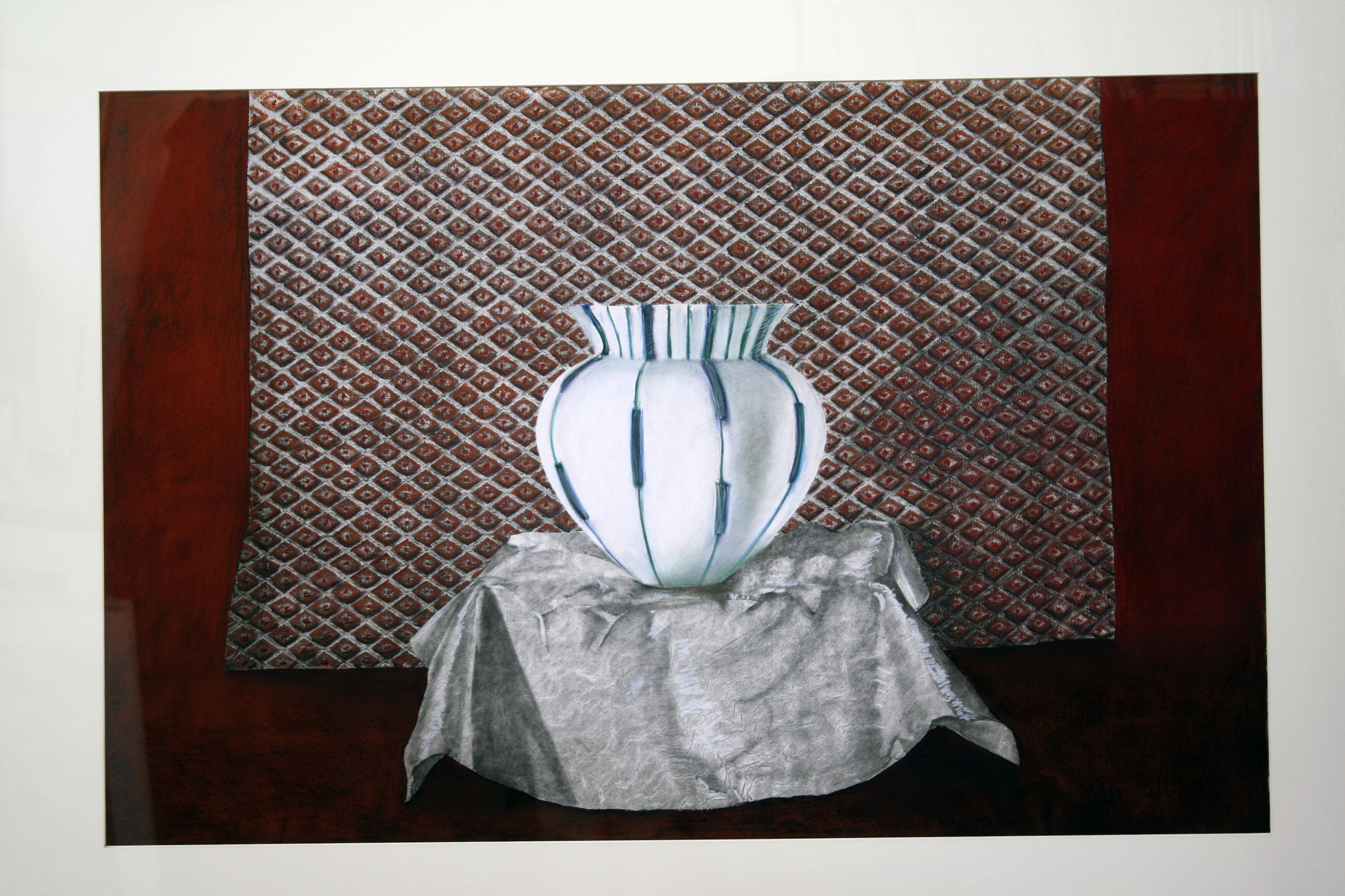 White Bowl 2000 75x120cm collograph pastel