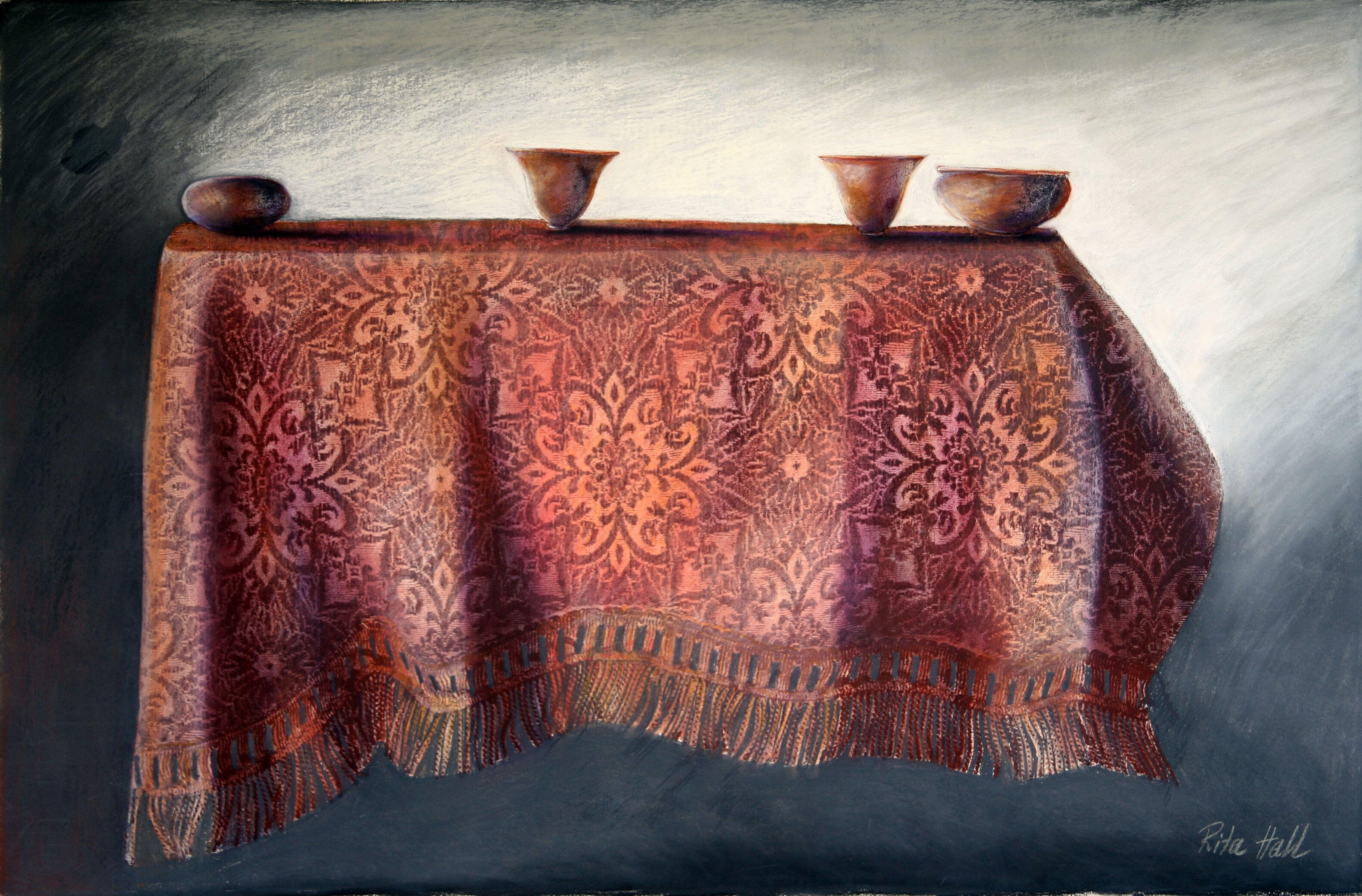 Table with four bowls 2000 collograph pastel 75x100cm