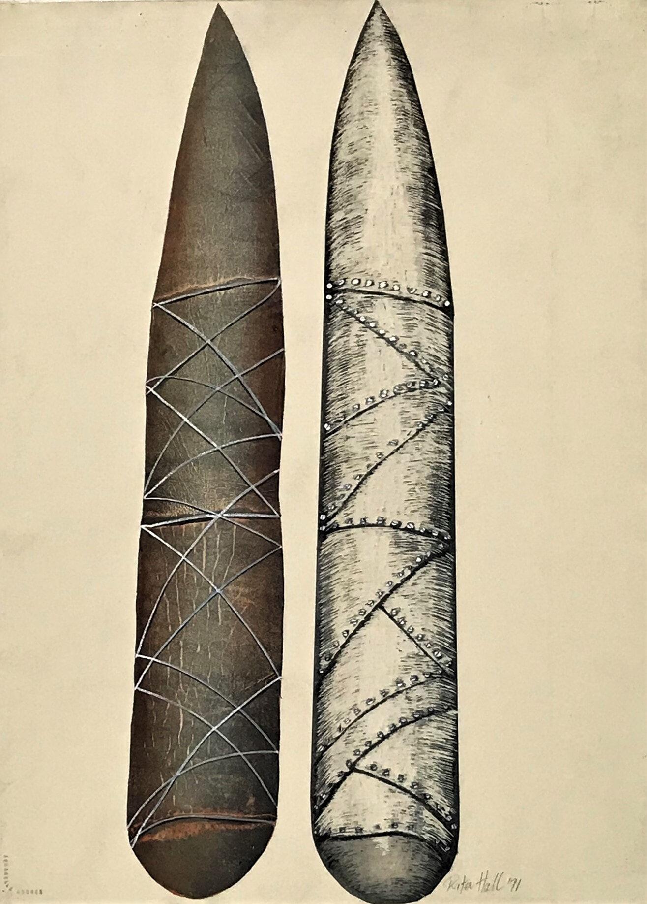 Hard and Soft Stones 1991 engraved gouache 76 x 56cm engraved gouache