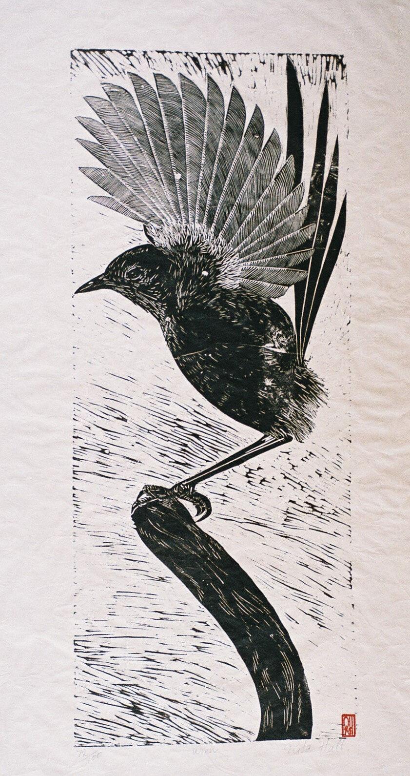 Wren 1989 Lino Cut 100 x 50cm