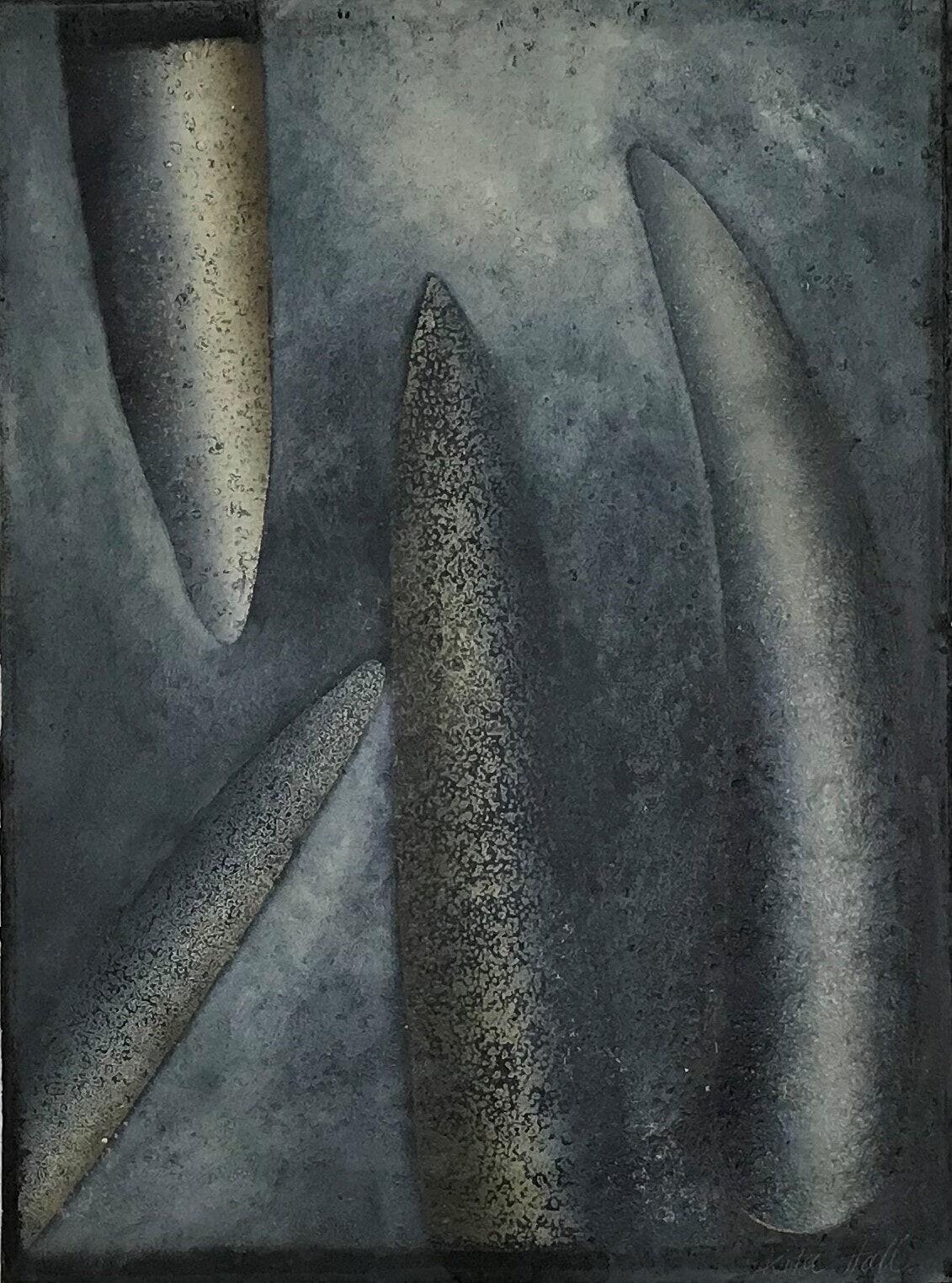 Shaped Stone  1993 76 x 56cm collograph