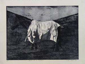Horse on a Hillside AP  1995 Etching Blue Ink 56 x 76cm