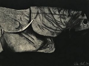 Hooded Horse 1995 Unique State  Etching & Charcoal 56 x 76cm