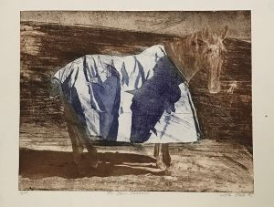 The Blue Shadow 1995 Etching Blue Ink & Sepia 56 x 76cm