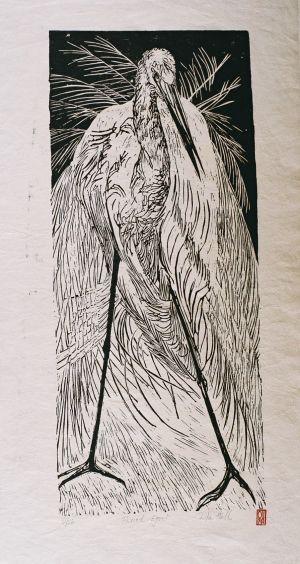 Plumed Egret 1989 Lino Cut 100 x 50cm