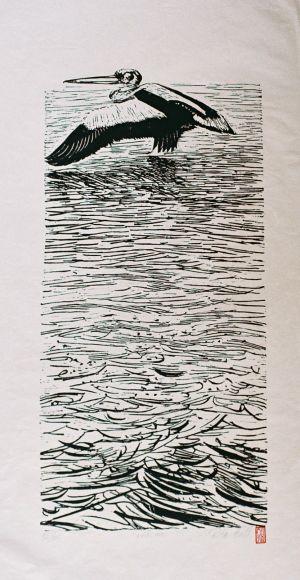 Pelican 1989 Lino Cut 100 x 50cm