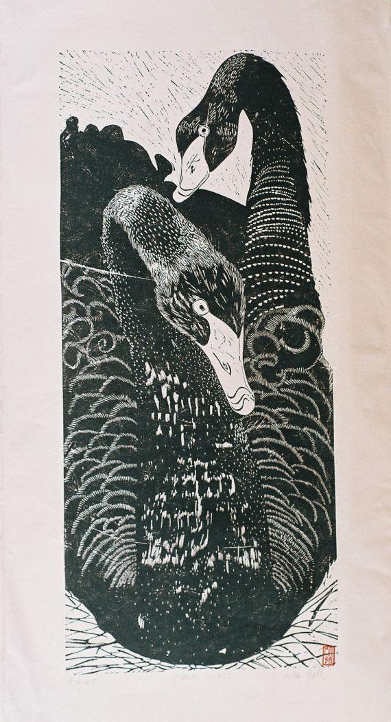 Black Swan 1989 Lino Cut 100 x 50cm