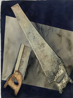 Soft Saws 1996  Collograph and Watercolour 76 x 76cm