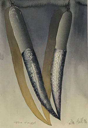Two Knives 1996 Collograph and Gouache 43 x 28cm