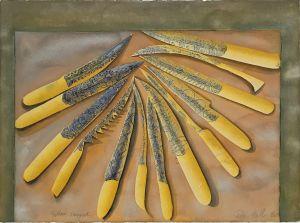 Yellow Daggers 1996 Collograph and Gouache 56 x 76cm