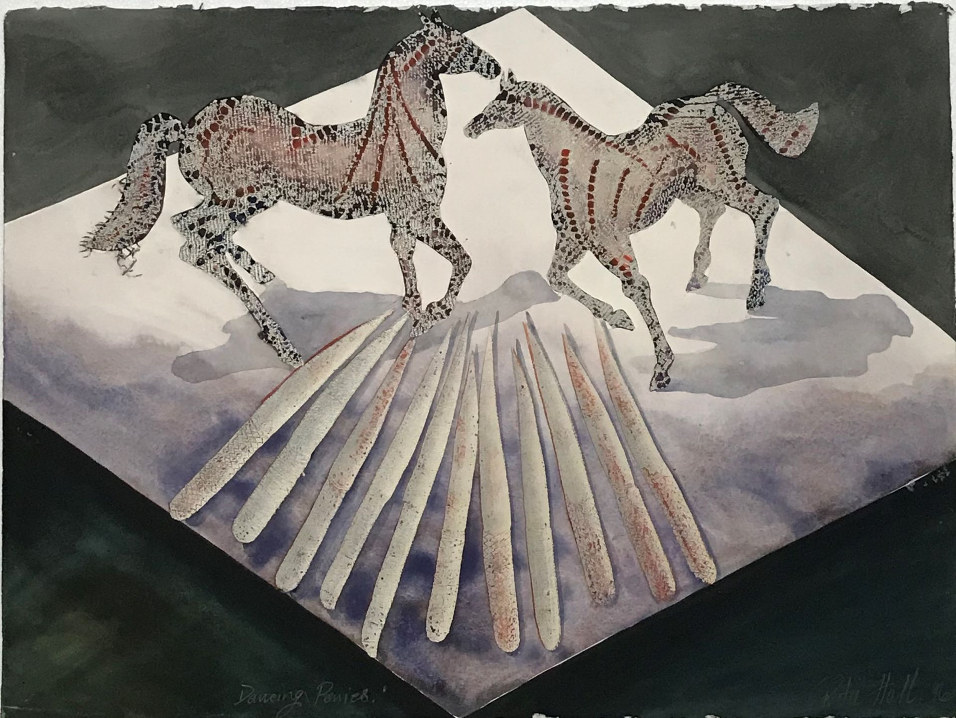 Dancing Ponies 1996 Collograph and Gouache 56 x 76cm