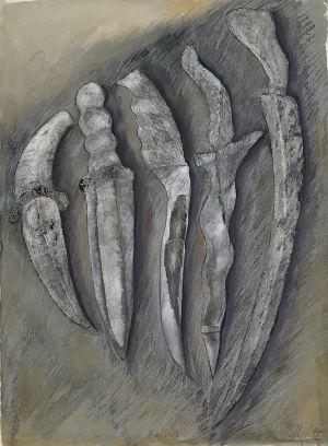 Knives 1994 Collograph, Gouache and Graphite 76 x 56cm