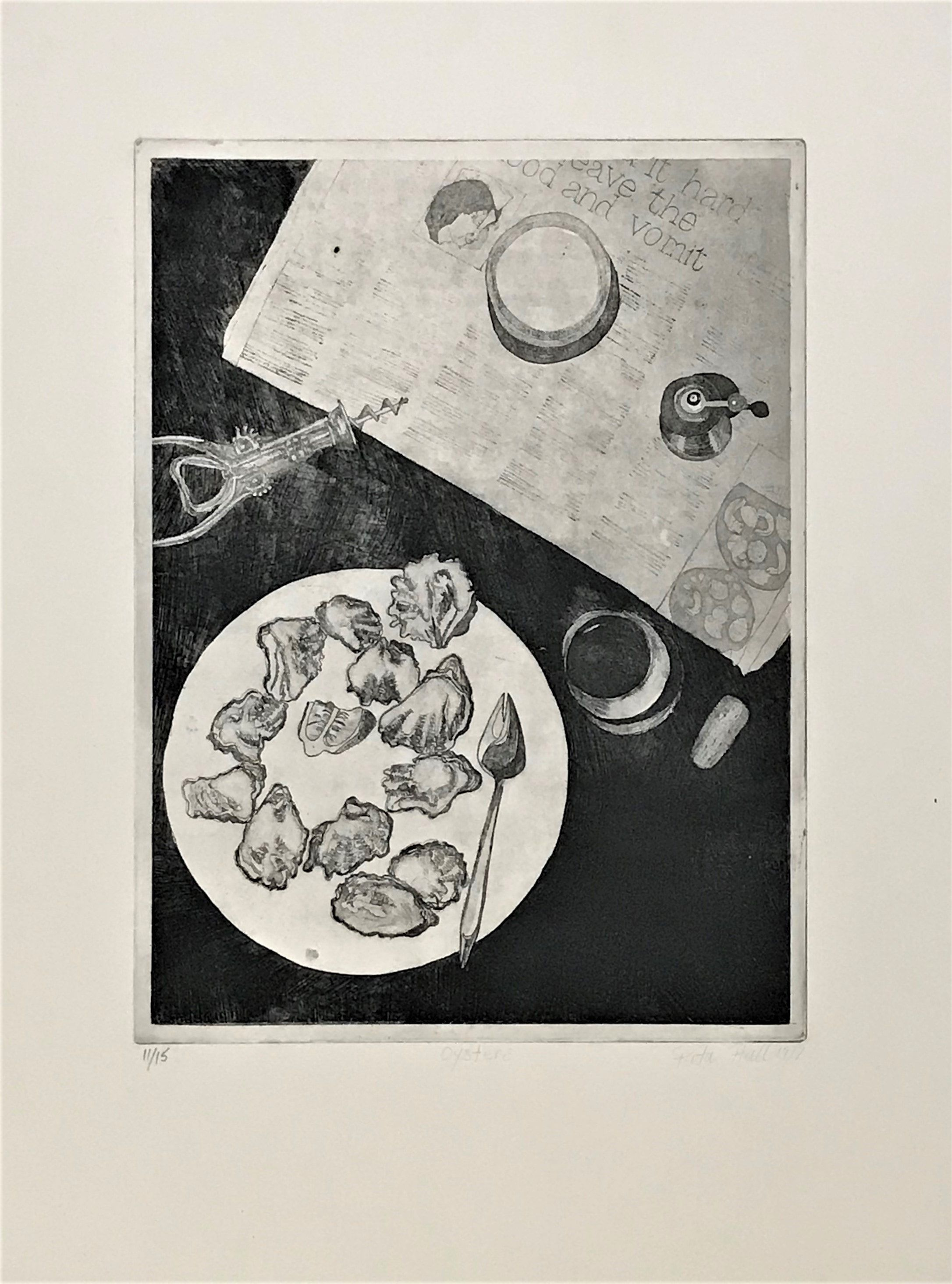 Oysters 1977 Etching 76 x 56cm