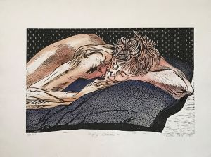 Sleeping Woman 1990 Hand Coloured Woodcut 57 x 76cm
