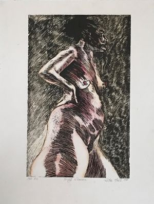 Young Woman 1990 Hand coloured Woodcut 76 x 57.5cm