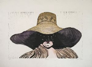 Anna 1990 Hand coloured Wood Cut 57 x 76cm