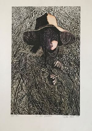 In the Garden 1990 Hand Coloured Wood Cut 76 x 57cm