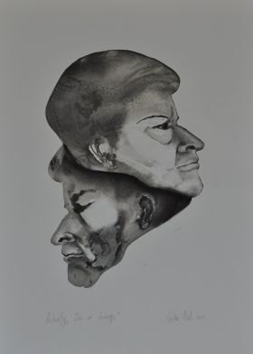 'Actually I am in charge. Carol Gaston' 2012 Monotype & Charcoal   70x50cm