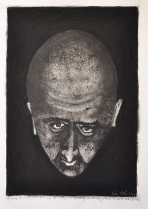 'Anyway so there was this big tall cop just standing there. Hey there he said, and I just froze. Michael Bryant' 2012 Monotype & Charcoal  70x50cm