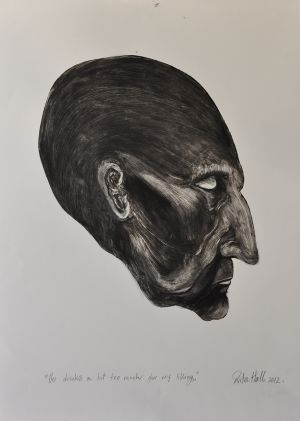 'He drinks a bit too much for my liking' 2012 Monotype & Charcoal  70x50cm