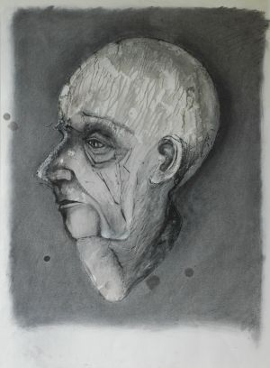 'I'm really worried about you Bob' 2012 Monotype & Charcoal 76x56cm
