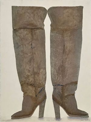 1976 Empty Thigh Boots 1998 Collograph and Watercolour 76 x 56cm