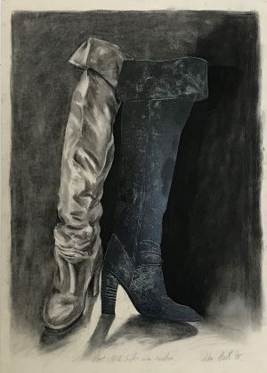 Boot Still Life with Leather 1998 Collograph Charcoal 86 x 61cm