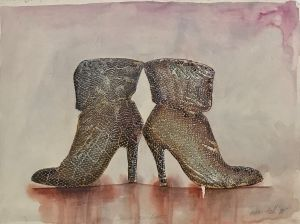 Dancing Boots 1998 Collograph, Watercolour 45 x 61cm