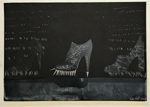 Untitled (3 Shoes) 1998 Collograph 61 x 86cm