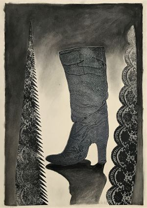 Untitled I (Boot with Lace Saw) 1998  Mixed Media 86 x 61cm