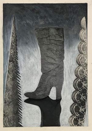 Untitled II (Boot with Lace Saw) 1998  Mixed Media 86 x 61cm