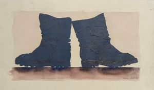 1990 Paddock Boots 1998 Collograph, Watercolour 45 x 76cm