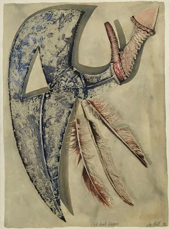 Birds Head Dagger 1996 collograph and watercolour 76 x 56cm