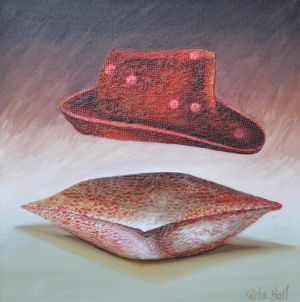 15. Hat Oil and Collage on Canvas 50 x 50cm