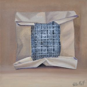 28.  Package Oil and Collage on Canvas 45 x 45cm