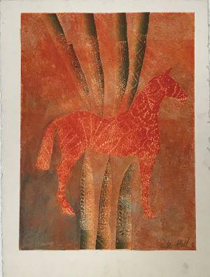 Sharp Pony1996 Collograph 76 x 56cm