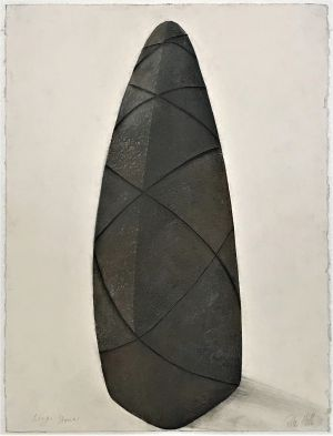 Long Stone 1991 Collograph and Pastel 76 x 56cm