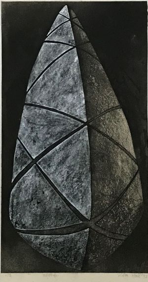 Stone 1992 Unique State Etching and Pastel 62 x 33cm