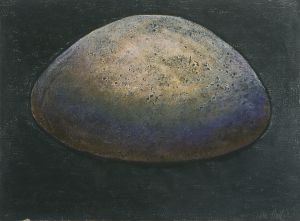 The Round Stone I 1990 Collograph and pastel 56x76cm