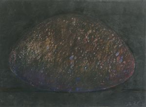 The Round Stone II 1990 Collograph and pastel 56x76cm