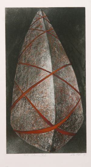Tied Red Stone 1990 Etching and gouache 59x32cm