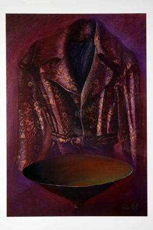 Purple Jacket with cole bowl 2000 100x75cm collograph & pastel
