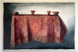 Table with four bowls 2000 75x100cm collograph pastel