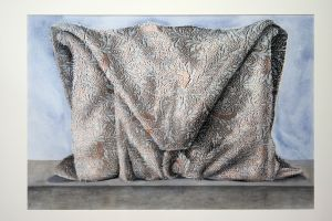 Wrapped mantle 2002 67x97cm collograph gouache & pastel