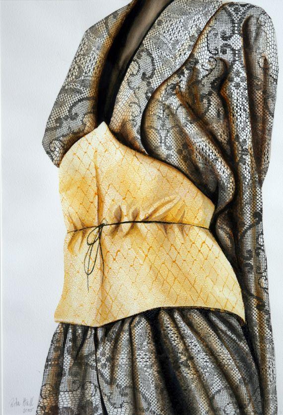 Yellow waist 2005 85x56cm collograph watercolour