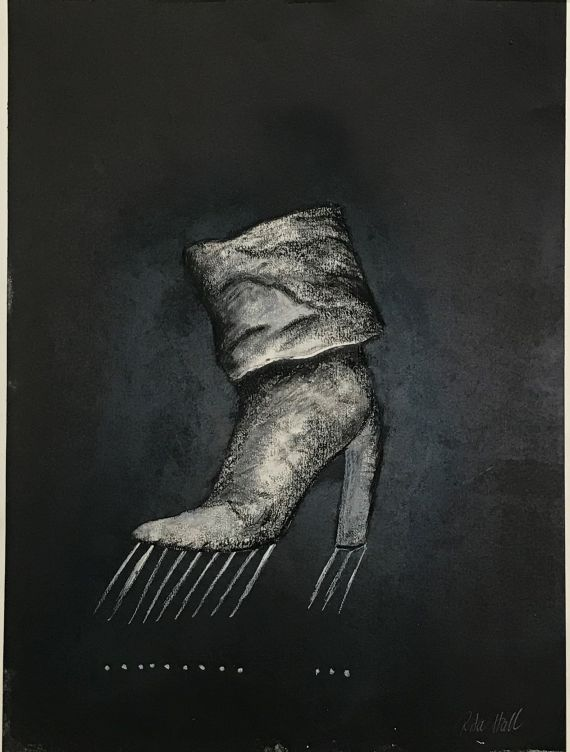 Untitled Fold Down Boots 1998 Collograph Pastel  76 x 58cm