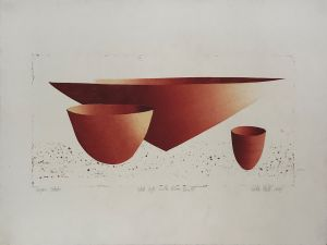 Still Life with Bowls 1999 Collograph 56 x 76cm