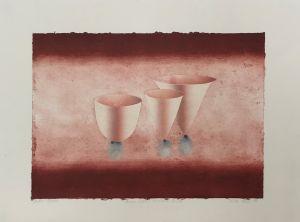 Three White Porcelain Bowls 1999 Collograph 56 x 76cm
